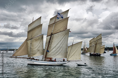 Canvas Schip France, Duarnenez, 21, July, 2016, sailboats in the bay at the festival of sailing, France, Duarnenez, 21, July, 2016