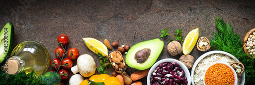 Balanced diet. Organic food for healthy nutrition. Long banner format.