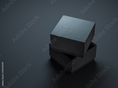 Two Square Black textured Boxes Mockup, 3d rendering