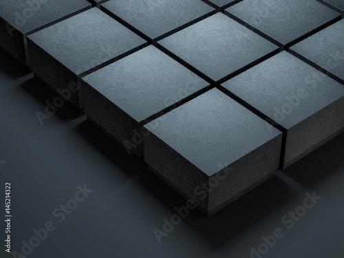 Black square Boxes Mockups for branding or logo design, 3d rendering