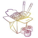 Vector illustration of an Asian restaurant opened to take out a box filled with noodles, shrimp, sushi and chopsticks. - 145215775