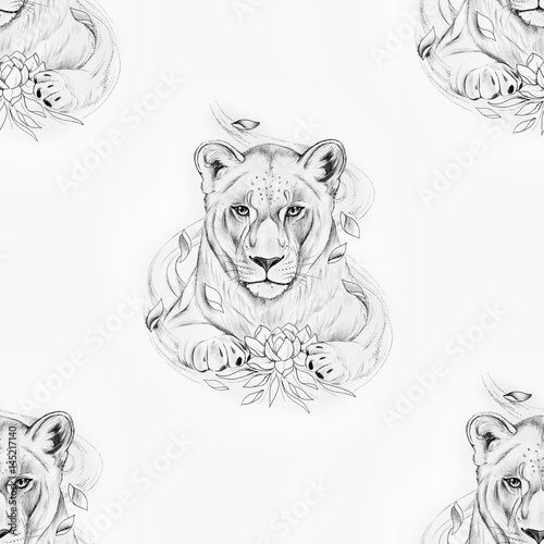Seamless pattern of a beautiful lion with a lotus on a white background. - 145217140