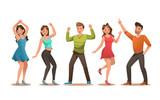 Happy teens character design. Teens dancing vector. no3