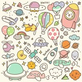Set of Cute Air Transportation and Other Flying Objects Doodle