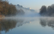 Morning fog over the Rhone river near Lyon, France.