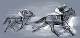 Horse racing over grunge background - 145229568