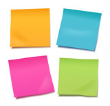 Set of four colorful vector blank post-it notes for your note or announcement isolated on white background - 145232380