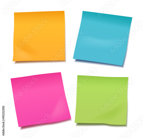 Set of four colorful vector blank post-it notes for your note or announcement isolated on white background