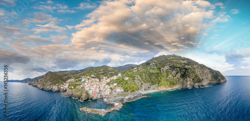 Panoramic aerial view of Manarola at dusk, Five Lands - Italy Poster