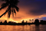 Sunset on the 4000 islands in laos