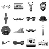 Hipster items icons set monochrome