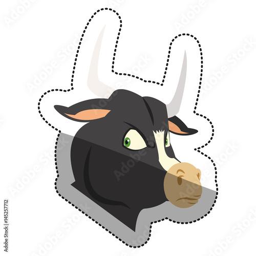 Bull cartoon icon. Animal cute adorable and creature theme. Isolated design. Vector illustration