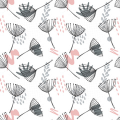 Abstract vector floral geometric seamless pattern with stylized dill or fennel flowers.
