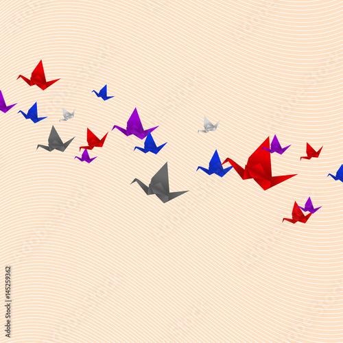 Poster Geometrische dieren Origami cranes vector milticolor