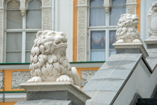 Poster Lions - architectural decoration of the red porch faceted chamber in the Moscow