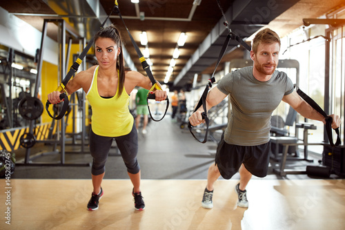 Couple on body training in gym - 145282745