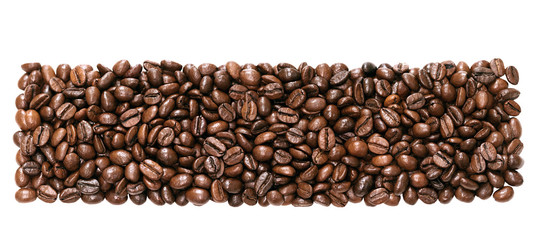 panorama  beans coffee isolated on a white background. © yanikap