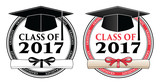 Fototapety Graduating Class of 2017 - Vector is a design in color or in black and white that shows your pride as a graduate of the class of 2017. Includes a cap, text and diploma.