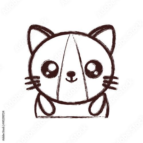 kawaii cat animal icon over white background. vector illustration
