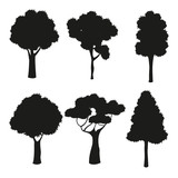 silhouette tree different nature vector illustration eps 10