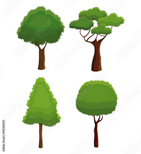 tree nature various plant environment vector illustration eps 10