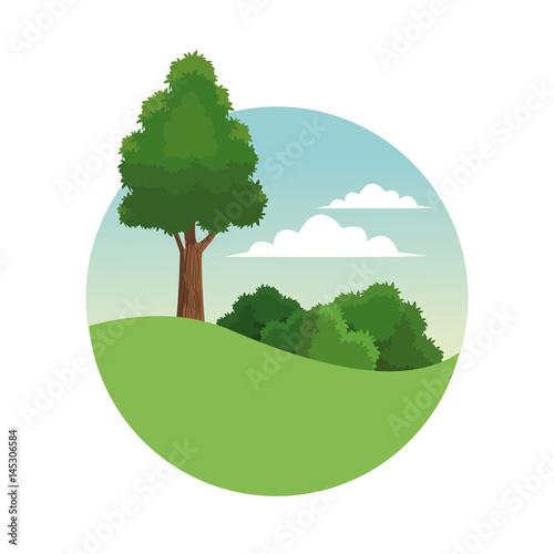 tree forest landscape stamp vector illustration eps 10