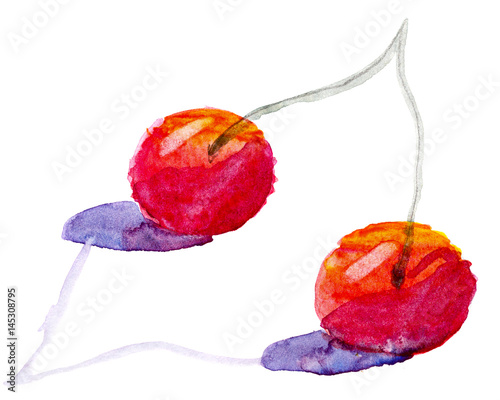 Ripe cherry with watercolor paint - 145308795