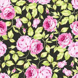 Vintage seamless floral pattern with pink roses and leaves on black background - 145321738