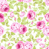 Seamless floral pattern with pink roses - 145321747