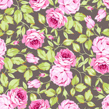 Seamless floral pattern with pink roses and leaves - 145321762
