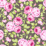 Seamless floral pattern with pink roses and leaves - 145321769