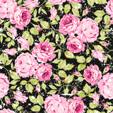 Vintage seamless floral pattern with pink roses and leaves on black background - 145321782