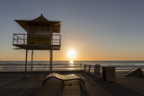 Gold Coast lifeguard hut number 34A - silhouette, located at Surfers Paradise. Taken at sunrise