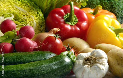 Various kinds of vegetables like zucchini, red radishes, peppers, salad, cabbage, potatoes, garlic