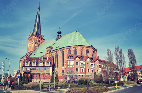 Vintage toned photo of Cathedral Basilica of St. James the Apostle in Szczecin, Poland.