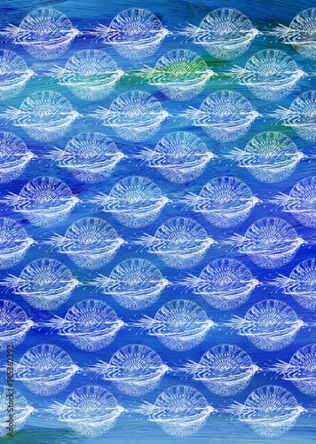 Plagát Blaues Muster