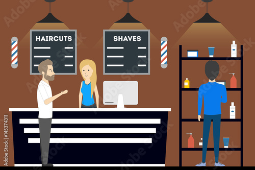 Barbershop salon inside. Reception with hair care products.
