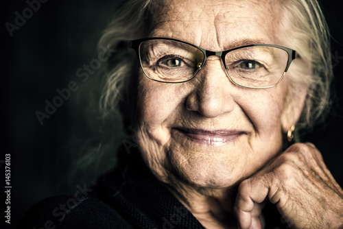 canvas print picture friendly smiling granny