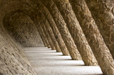 Stone walkway in the Park Guell in Barcelona, Spain