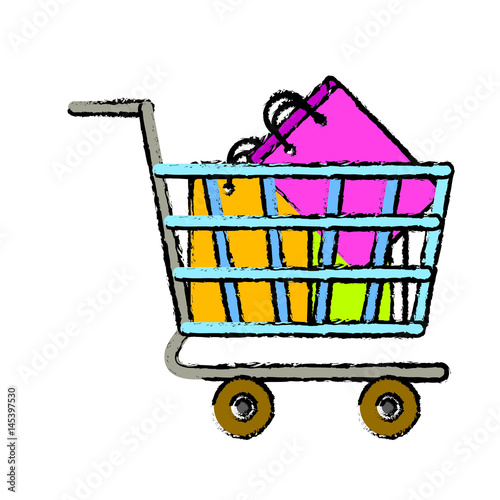 shopping cart with bags icon over white background. colorful design. vector illustration