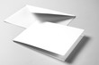 Blank card and envelope over grey background
