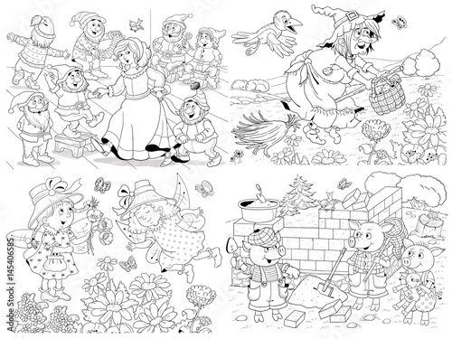 Small Set Of Fairy Tale Illustrations Snow White And Seven Dwarfs