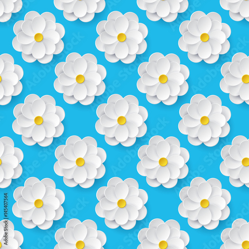 Seamless pattern with paper flowers. - 145407564