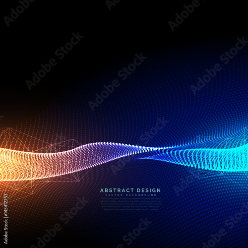 digital particles technology background with beautiful light effect