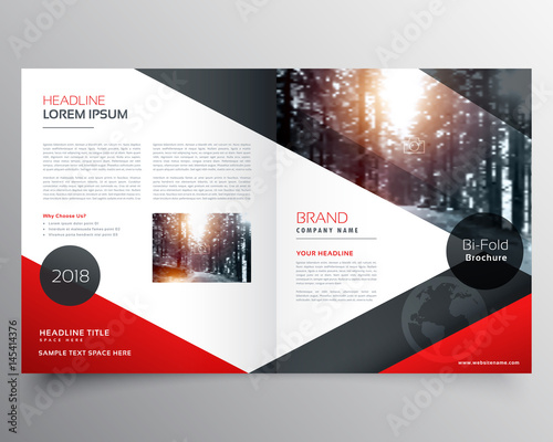 creative red and black bifold brochure or magazine cover page design