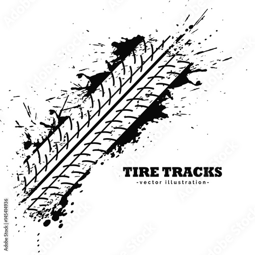 Fototapeta tire track impression on white background