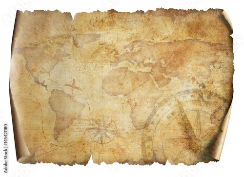 old world map isolated 3d illustration