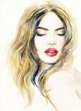 Beautiful woman face. Make up. Fashion illustration. Watercolor painting