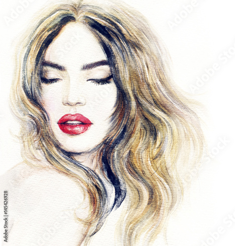 Beautiful woman face. Make up. Fashion illustration. Watercolor painting