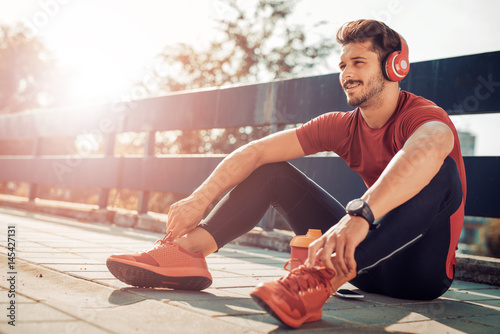 Young male jogger athlete training